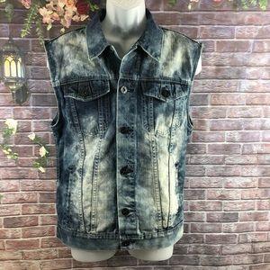 V Six Jeans Men's Demin Jeans Vest Jacket Size L